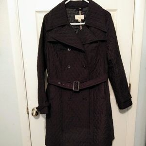 Merona quilted knee length belted coat sz L